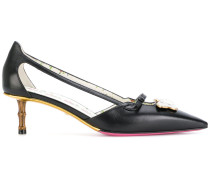leather pump with moth