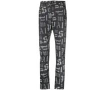 Bootcut-Jeans mit Monogramm-Print