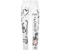 Handwritten Print Boyfriend Jeans