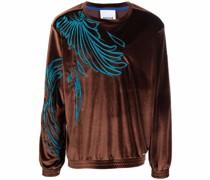 Velours-Sweatshirt mit Stickerei