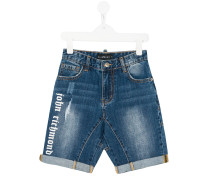 logo print denim shorts