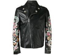 - tattoo print biker jacket - men