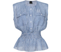 striped smocked waist blouse