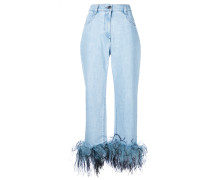 feather detail jeans