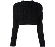 Cropped-Pullover mit offenem Rücken