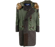 Tweed-Parka im Patchwork-Look