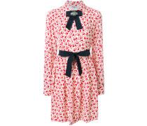 printed bow shirt dress