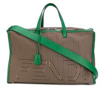 striped travel bag - men - Baumwolle/Leder