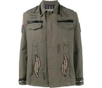 Military-Jacke mit Perlen-Patches