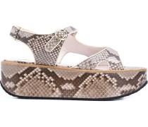 Flatform-Sandalen in Schlangenleder-Optik