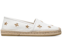 White Pilar Bee Embroidery leather Espadrilles