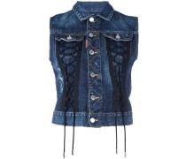 sleeveless laced denim jacket
