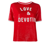 'Love & Devotion' T-Shirt mit Paillettenstickerei