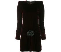 velvet structured shoulder dress
