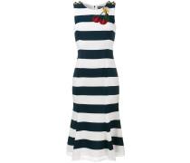 Gestreiftes Kleid mit Kirsch-Applikation