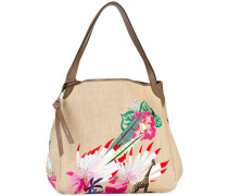 woven embroidered tote