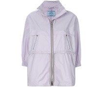 zipped nylon rain jacket