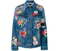 Jeansjacke mit Blumenstickerei - women