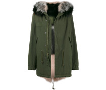 Khaki Pink and Grey Fur Lined Parka