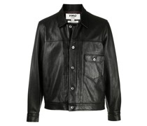cracked-effect leather jacket