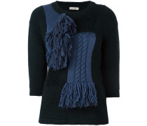 scarf panel knit jumper