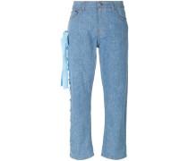 Cropped-Jeans mit Schnürung