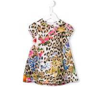 Kleid mit Leoparden- und Blumen-Print