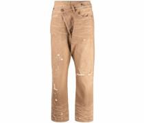 Distressed-Jeans mit asymmetrischem Bund