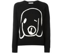 Intarsien-Pullover mit Hunde-Print - women