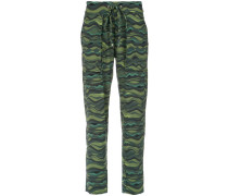 wave print drawstring pants