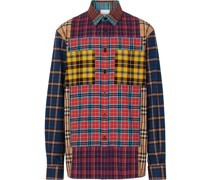 patchwork check oversized shirt
