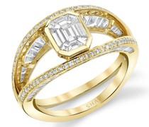 Offener 18kt Halo-Gelbgoldring mit Diamanten
