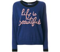 "Pullover mit ""Life Is Beautiful""-Stickerei"