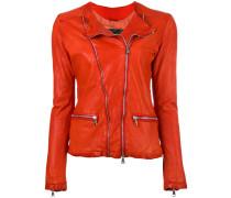zip up jacket - women - Baumwolle/Leder/Nylon