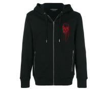 skull embroidered hoodie