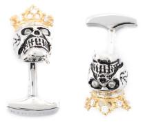 'King Skull' Manschettenknöpfe mit Zirkonia