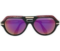 Oversized-Sonnenbrille mit Lederdetail