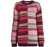 Patchwork-Pullover mit Stickerei
