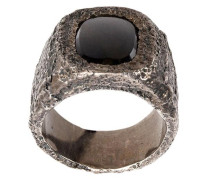 'Leather Stone' Silberring