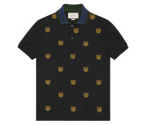 Poloshirt mit Tiger-Stickerei