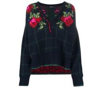 Intarsien-Pullover mit Rose