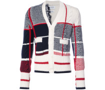 Classic V-neck Cardigan With Large Plaid Intarsia In Cashmere