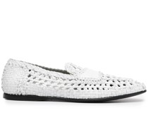 woven-effect slip-on loafers
