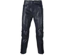 Cropped-Lederhose mit Reißverschluss am Bein