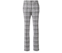 checked zipped cuff trousers