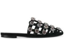 embellished caged flat sandals