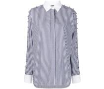 striped button-detail shirt