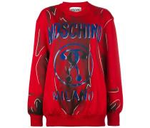 Sweatshirt mit Trompe-l'œil-Print