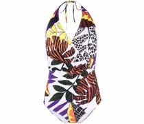 Neckholder-Badeanzug mit Blatt-Print