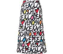typography print skirt